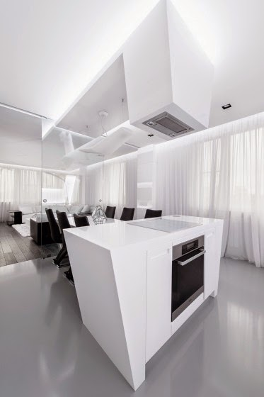 Design of kitchen and futuristic hood