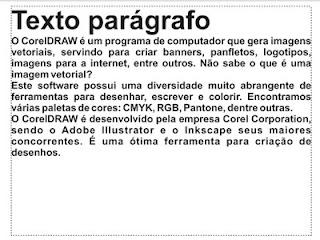 Exemplo de texto parágrafo no CorelDRAW