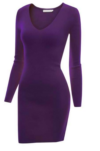 Doublju Fitted Long Sleeve Knit Jersey Dress
