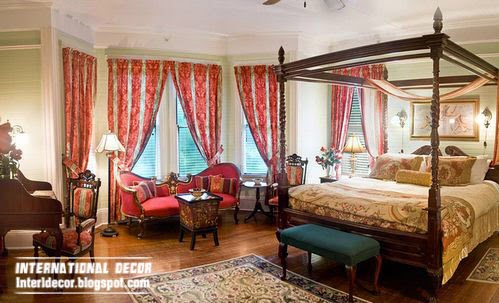 classic red curtains for interior bedroom