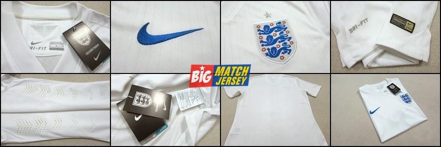 Detail Jersey Bola Grade Ori Nike Inggris Home Piala Dunia 2014