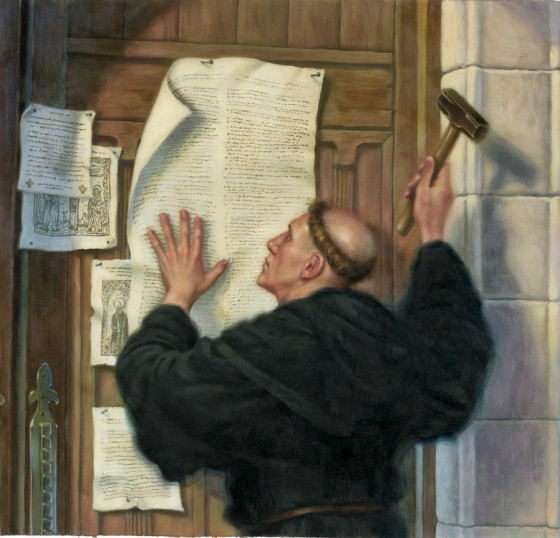 luther initially nailed his 95 theses on