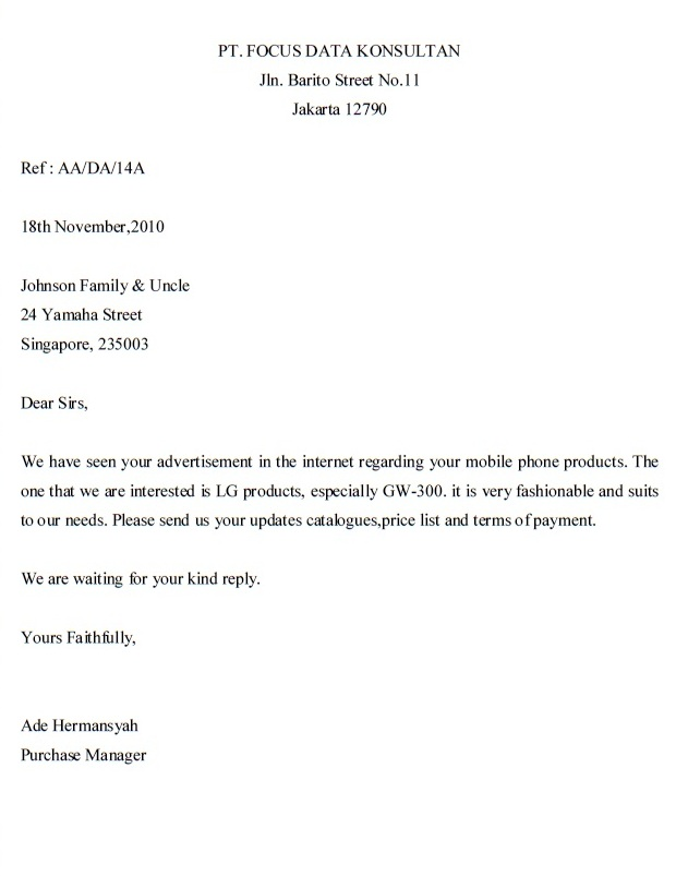 Inquiry Letter – Inquiry Letters Example