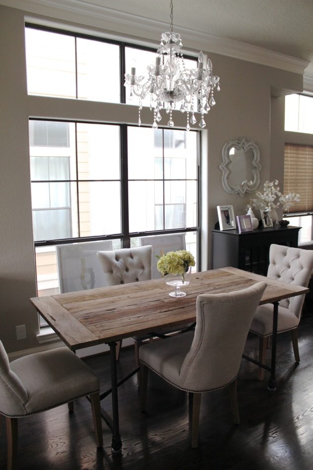 Restoration hardware curtains for the kitchen amp dining room chandelier