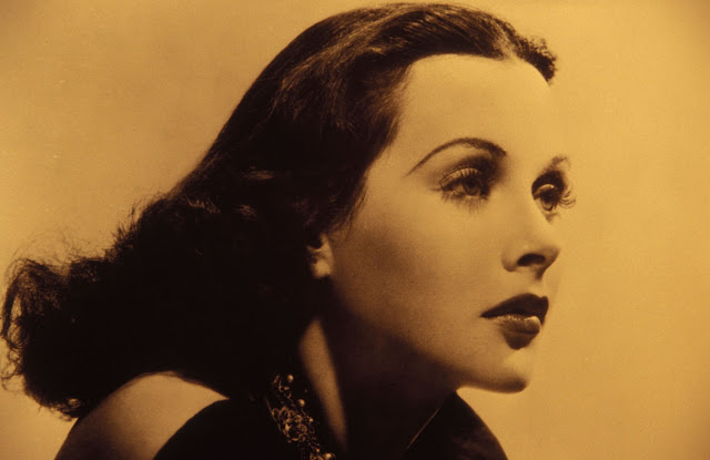 Hedy Lamarr, Hollywood actress, inventor, black and white photo, profile shot