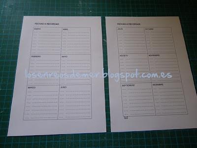 Páginas de agenda con fechas para recordar