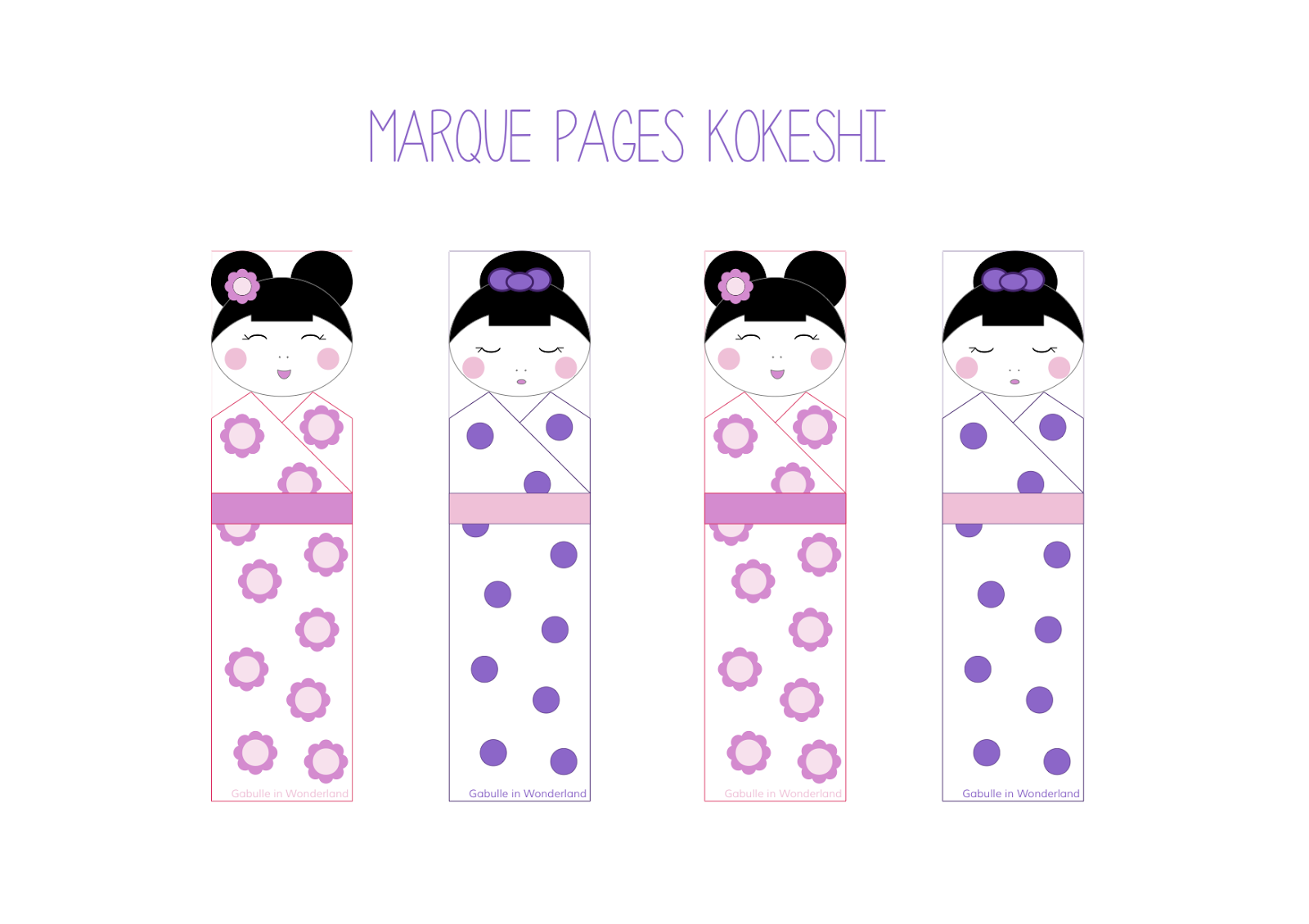 Gut bekannt Gabulle in Wonderland: Marque pages kokeshi à imprimer BJ24