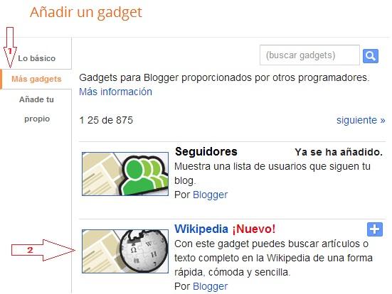 Buscando gadget de Wikipedia