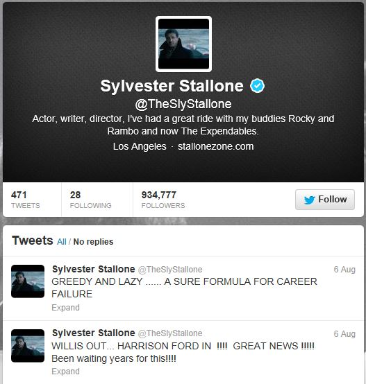 Tweet about Bruce Willis by Sylvestor Stallone