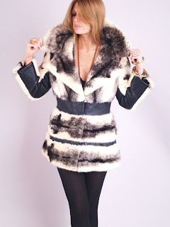 Vintage 1960's black and white mink fur coat with black leather panels and large collar