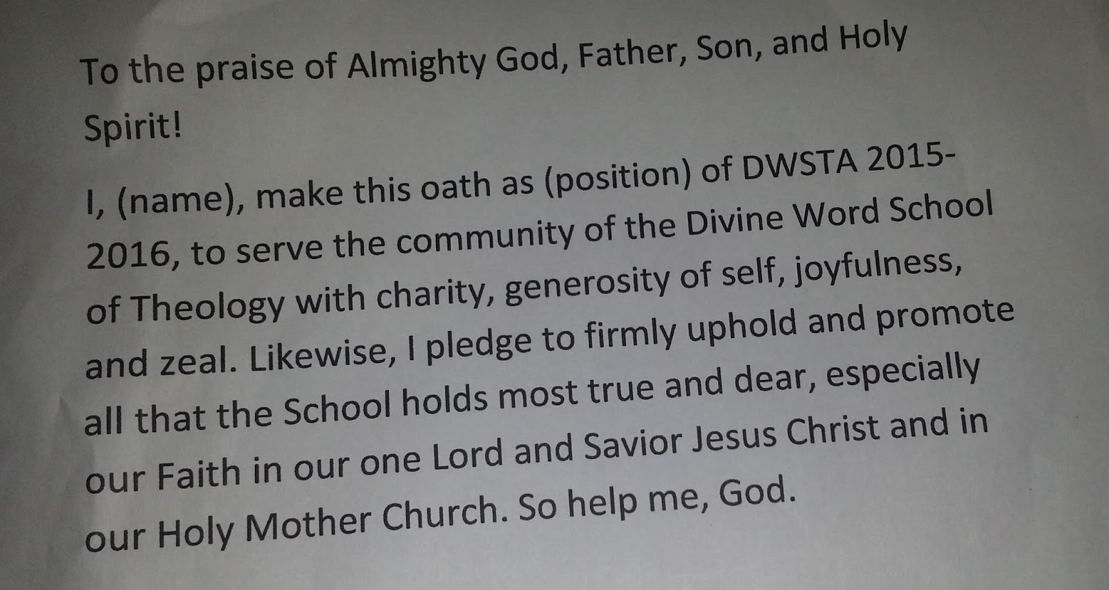 Divine Word Seminary DWSTA Oathtaking – Oath of Office Template