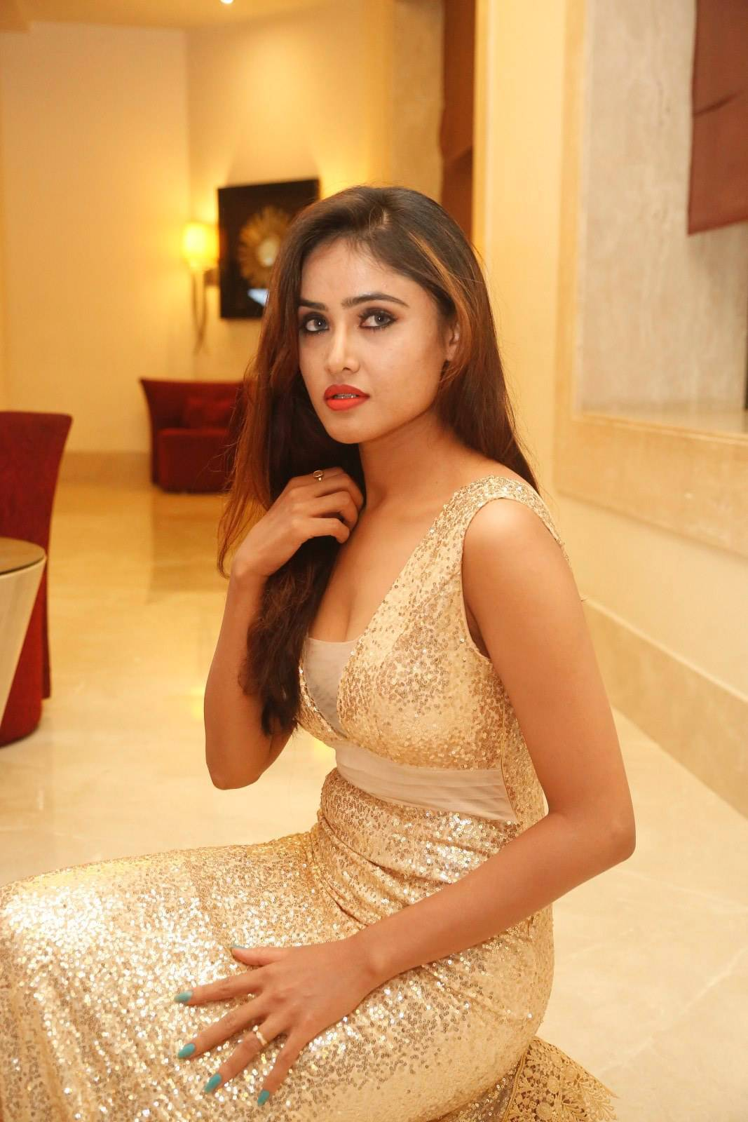 Sony Charishta Latest HD Stills At Kakatiya Cricket Cup Dress Lunch PressMeet