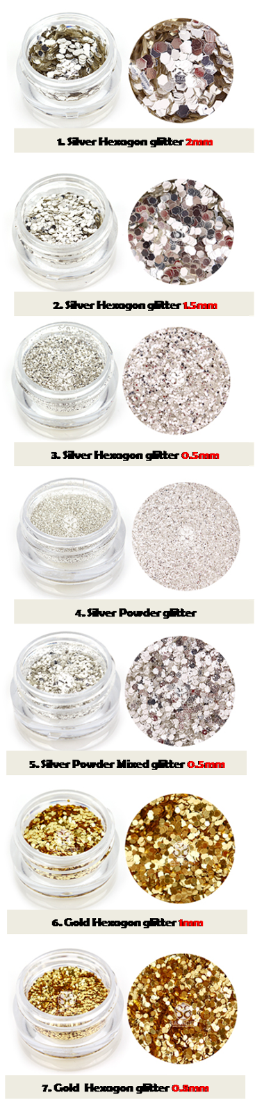 GLORY Nail Glitters, Shiny Various Shapes of Glitters!