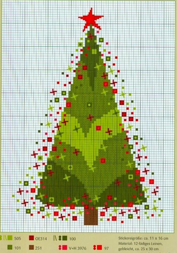 ערכת צבעים של תפר צלב - עץ חג