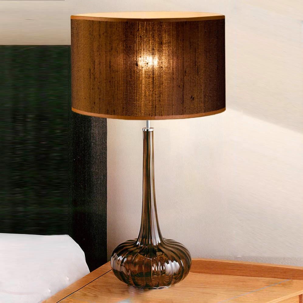 tischleuchten aus glas und kristall braune tischleuchte aus glas ribbed onion. Black Bedroom Furniture Sets. Home Design Ideas