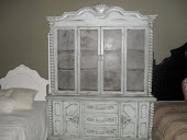 FRENCH GARDEN TREASURE SOFT BLUE COUNTRY HUTCH WITH CHICKEN WIRE