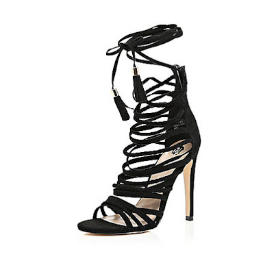 River Island Black Strappy High Heeled Sandals