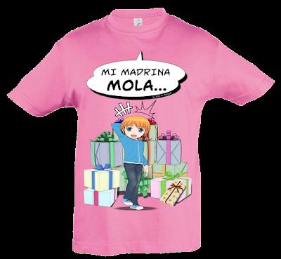 "Camiseta manga corta para niños ""Mi madrina mola (niño)"" color rosa"