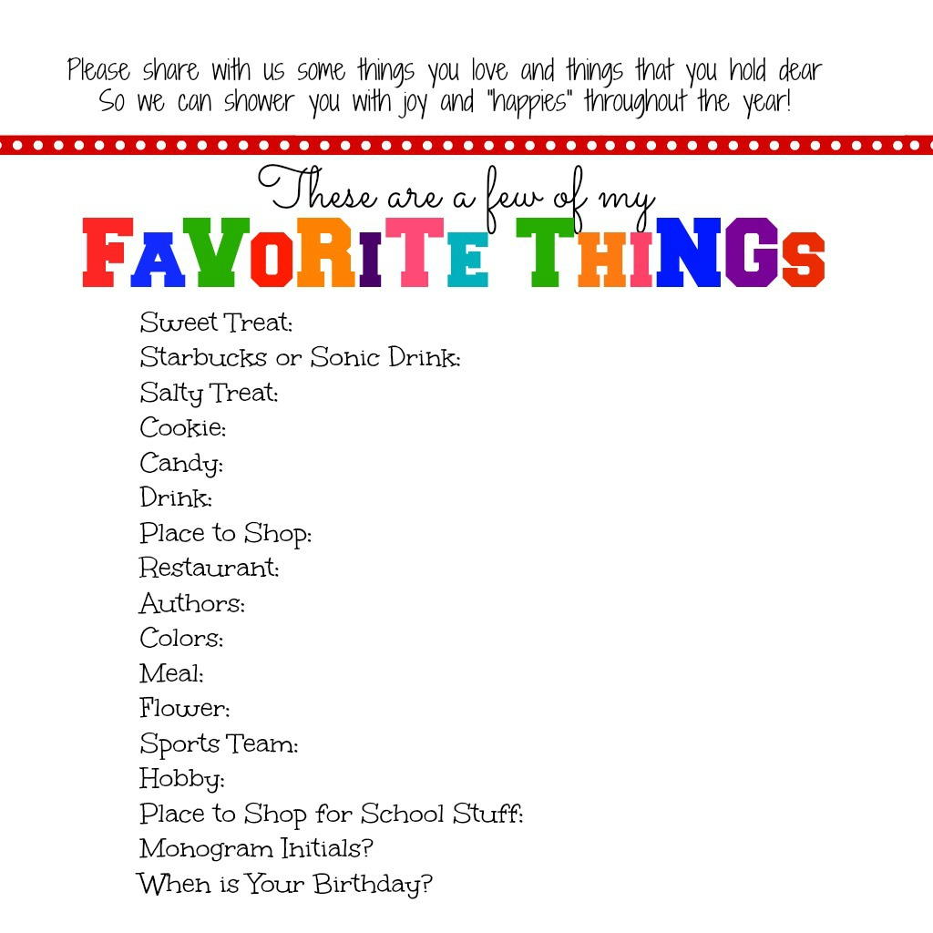 It is a graphic of Wild Teacher Favorite Things Printable