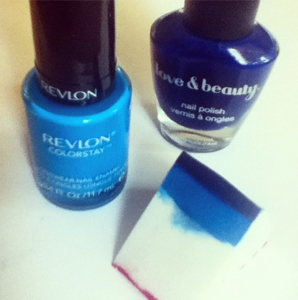 Blue ombre sponge nails, Forever21 Love & Beauty navy polish and Revlon Coatal Surf polish