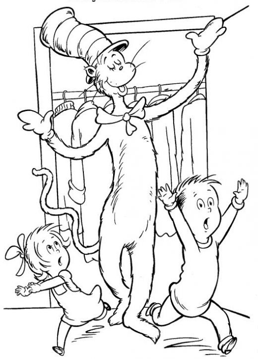 Cat in the Hat Coloring Pages (Dr Seuss) title=