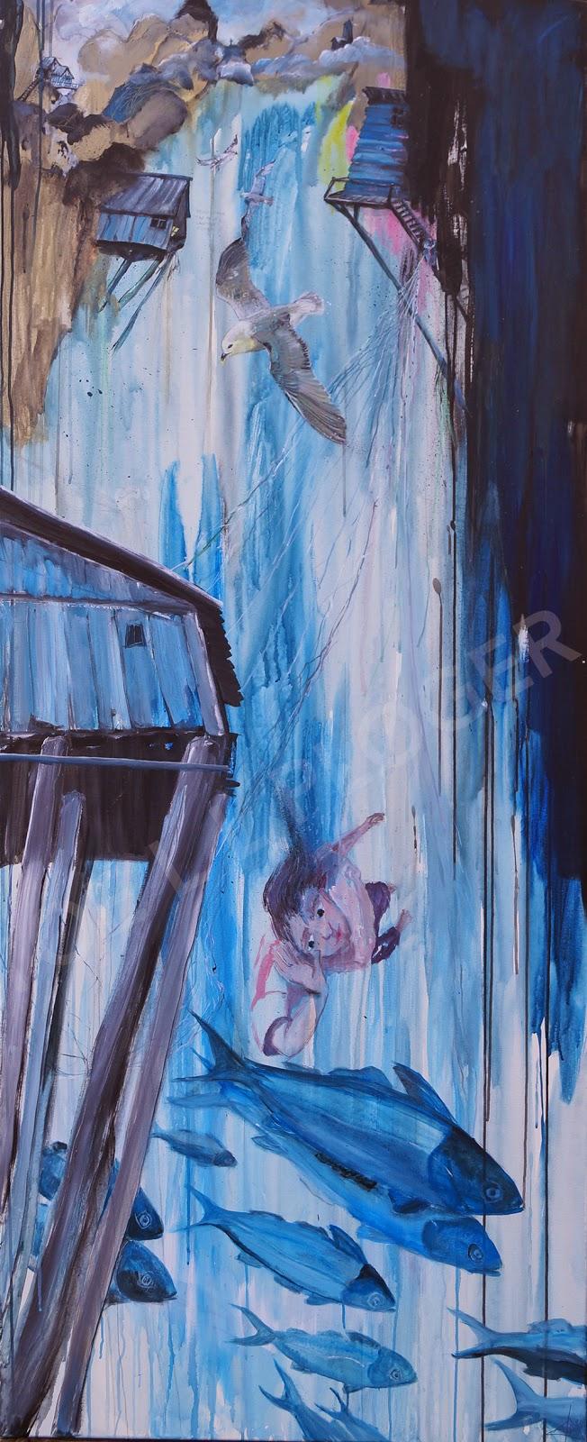 maleri, kunst, art, moderne kunst, abstrakt, blå, fisker, lykke, fisk, malamuk,