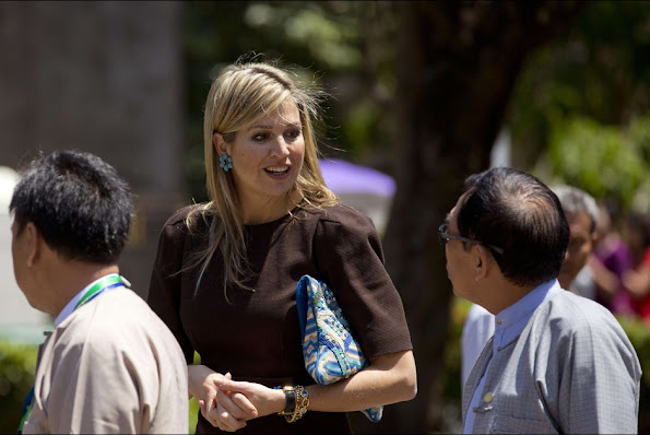 Queen Maxima of the Netherlands arrives at Yangon University prior to delivering a speech in Yangon