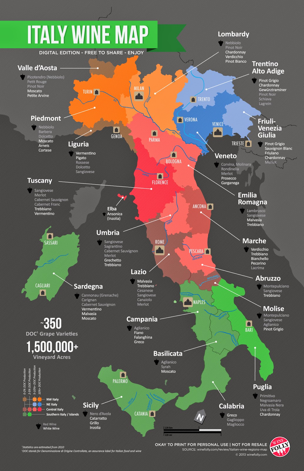 Map of regions in Italy from Wine Folly