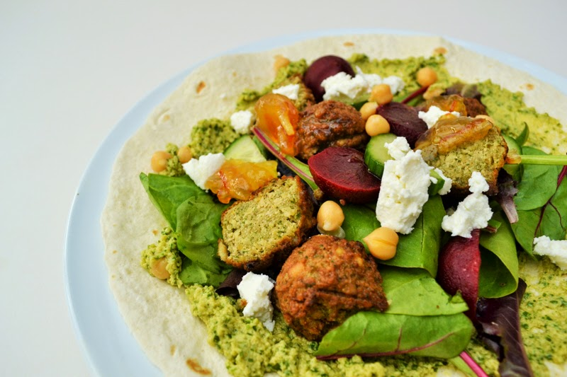 Falafel, Beetroot and Goats Cheese Wrap