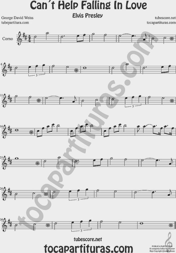 Partitura de Trompa y Corno Francés en Mi bemol Sheet Music for French Horn Music Scores