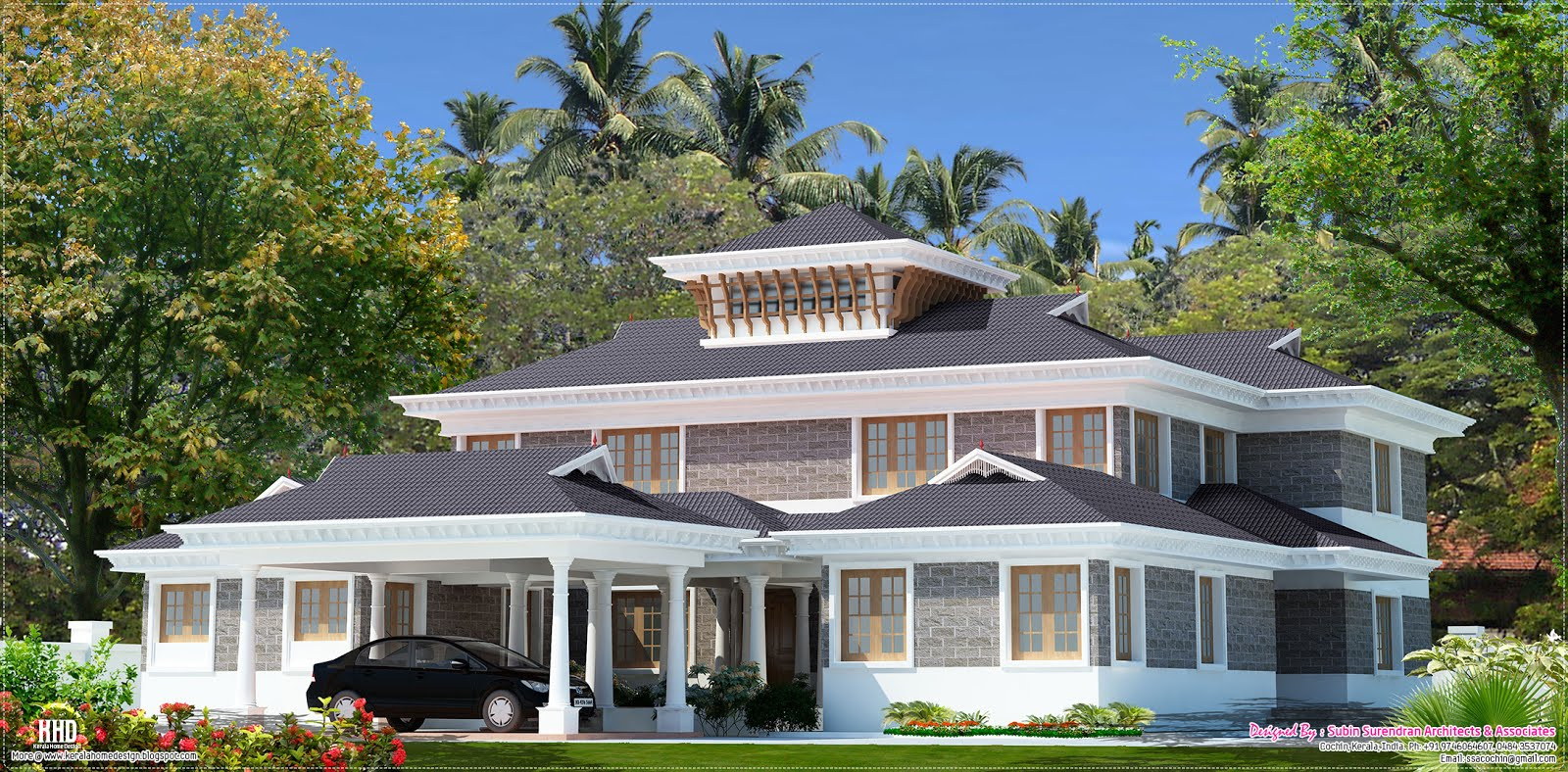 5000 luxury villa design kerala home design and for Modern house plans 5000 square feet