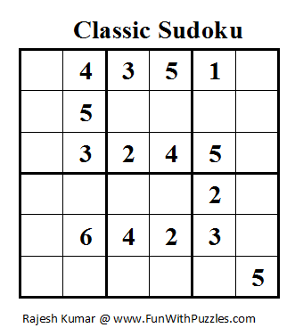 Classic Sudoku (Mini Sudoku Series #11)