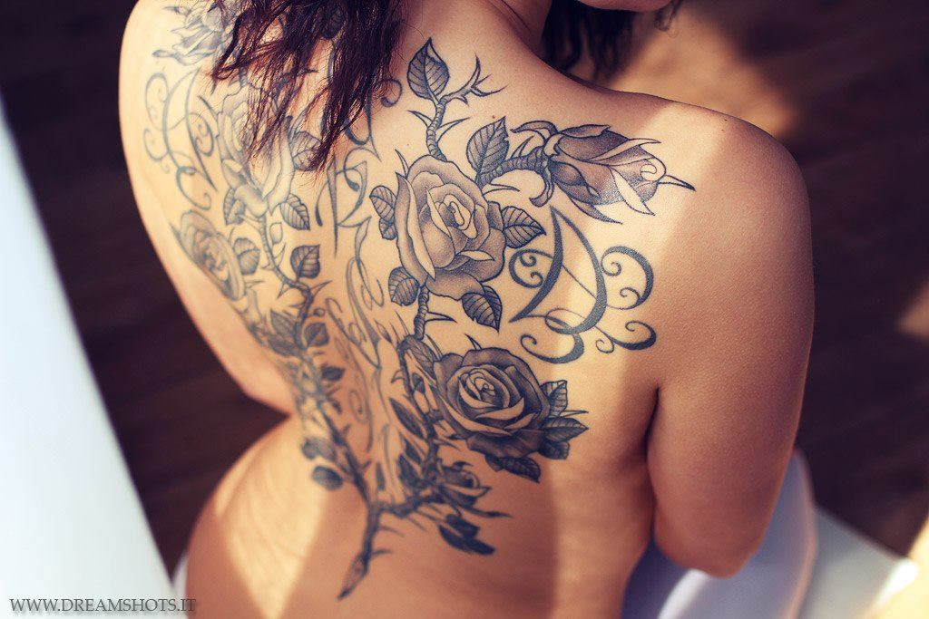 Back Piece Flower Tattoo,