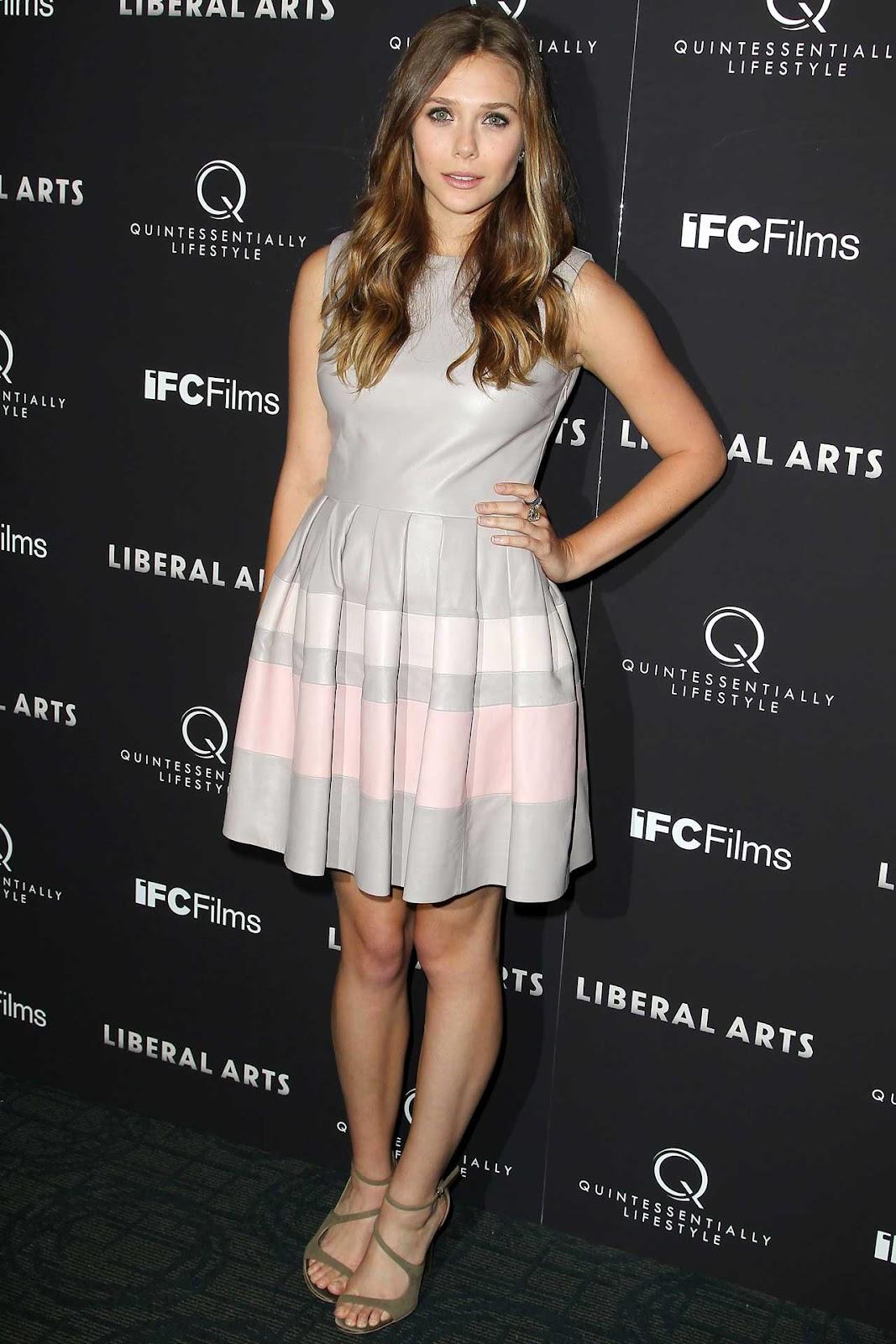 Elizabeth Olsen Wore A Christian Dior Pre Spring/summer 2013 Pale Grey