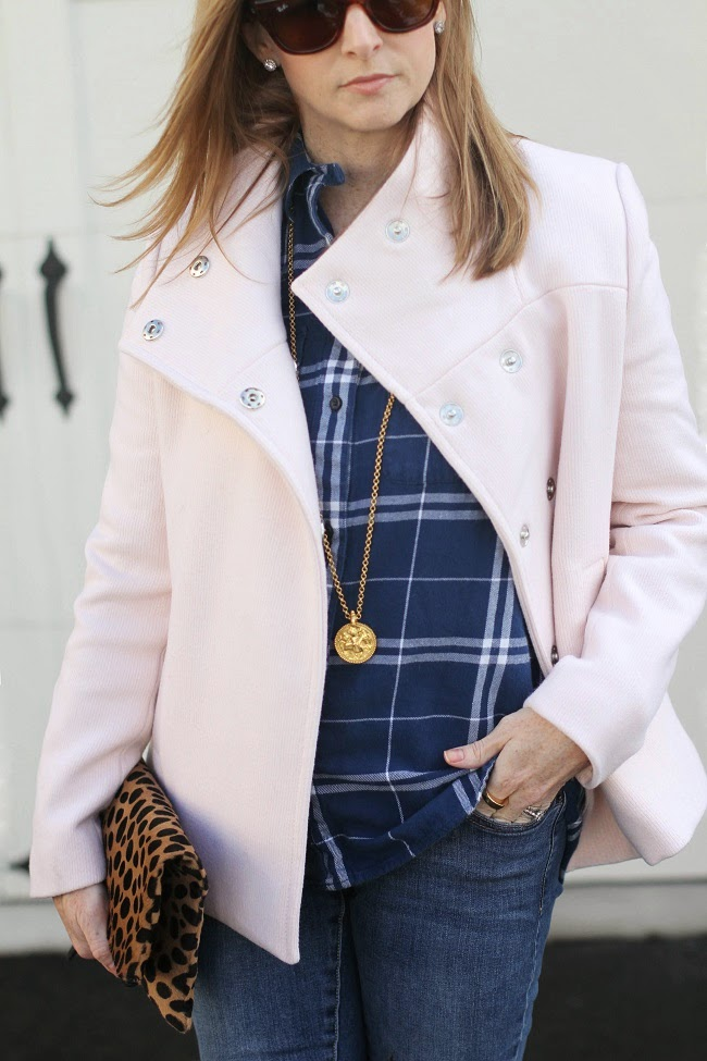 old navy jacket, madewell flannel shirt, old navy rockstar jeans, stuart weitzman highland boots, clare v clutch, julie vos coin necklace, saint laurent sunglasses