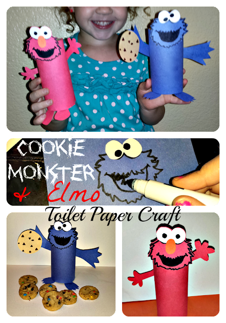 toilet paper roll crafts of cookie monster and elmo