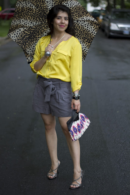 yellow shirt, shorts with heels, leopard print