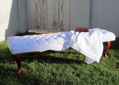 White Linen Tufted Bench