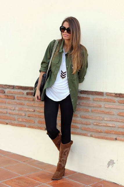 Green shirt white blouse leggings with long boots