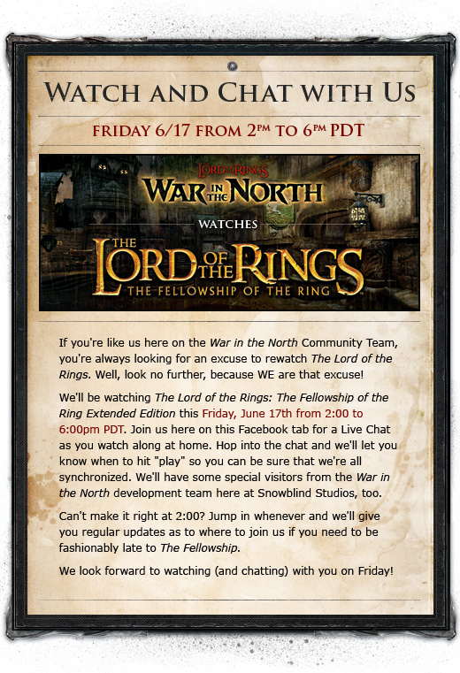 The Lord of the Rings: The Fellowship of the Ring Extended Edition Watch and Chat with War in the North!