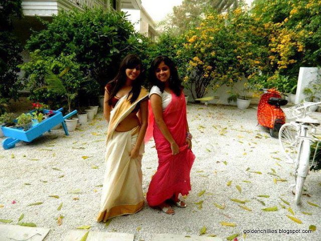 spicy NRI girls exposing in saree