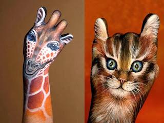 Giraffe and Cat Body Painting