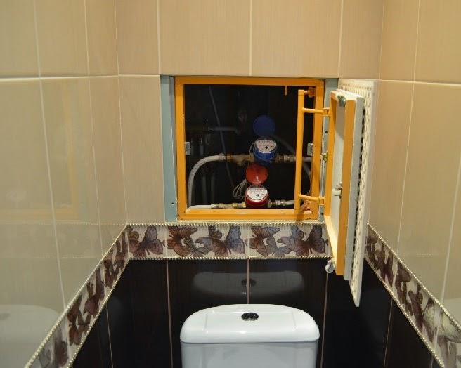 открывающаяся плитка в туалете под счётчик