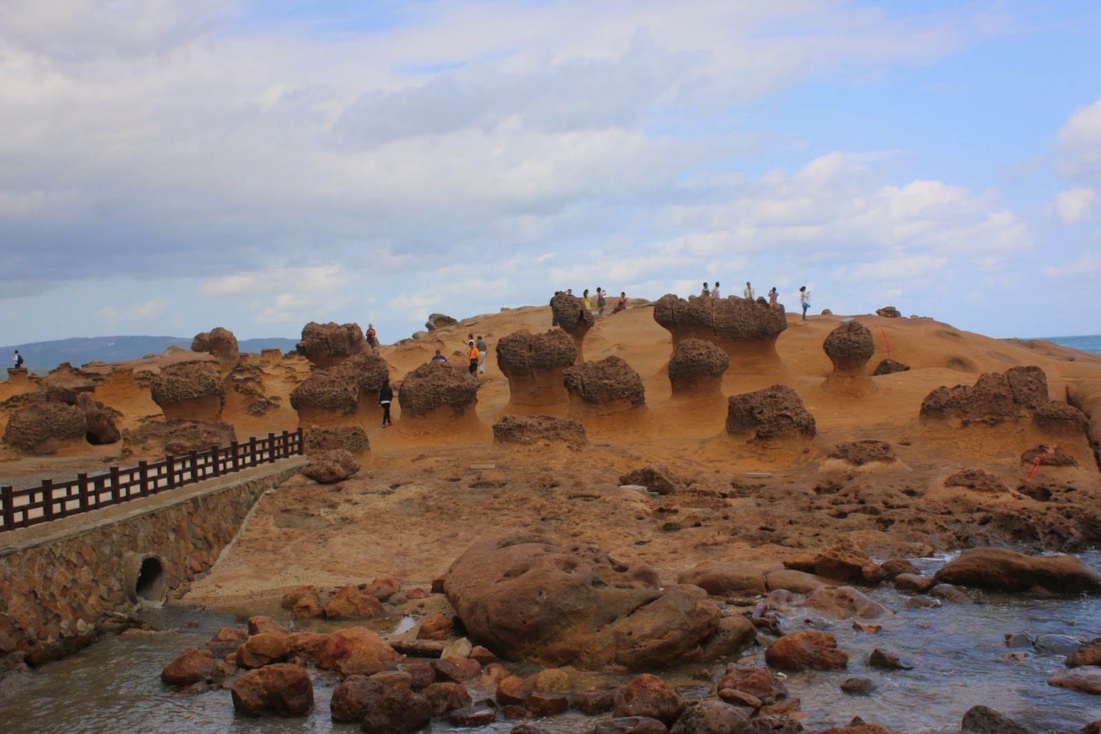 Different view of the rocks evolution at Yehliu Geopark at Wanli of New Taipei City of Taiwan