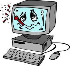 Cartoon - sick computer