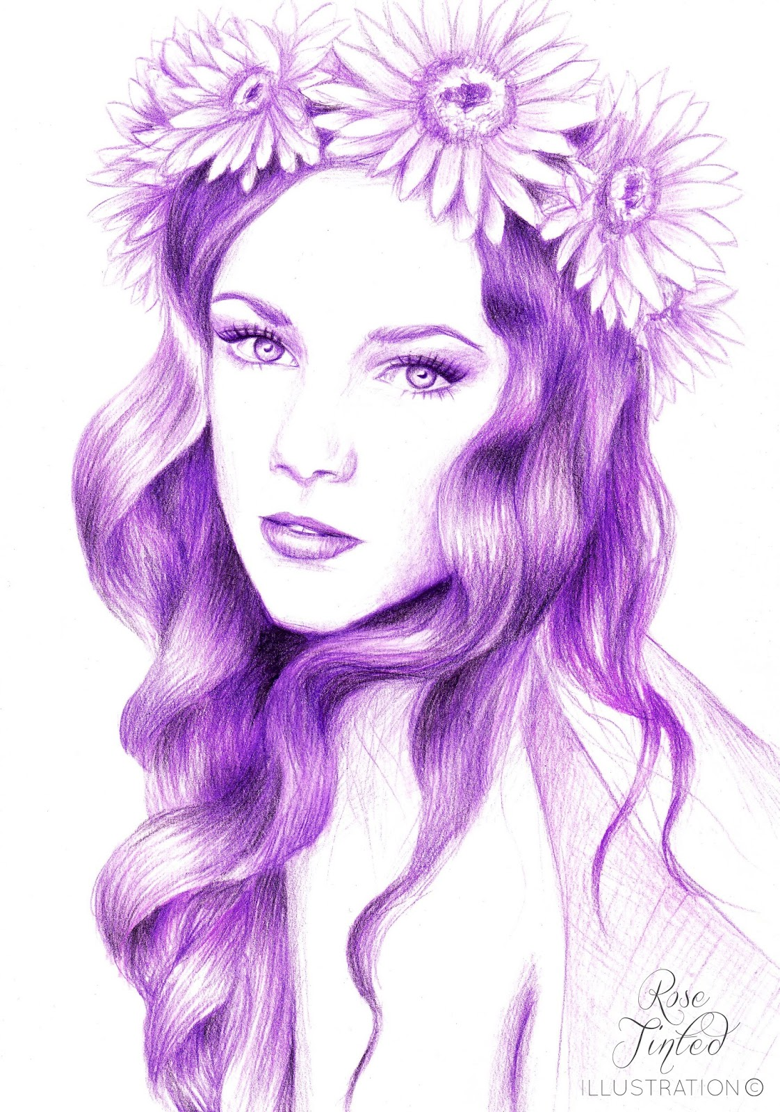 Girl with flower crown drawing - photo#20