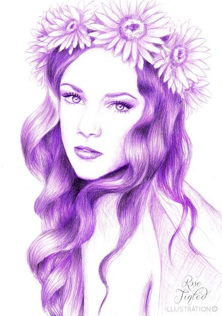rose tinted illustration lilac