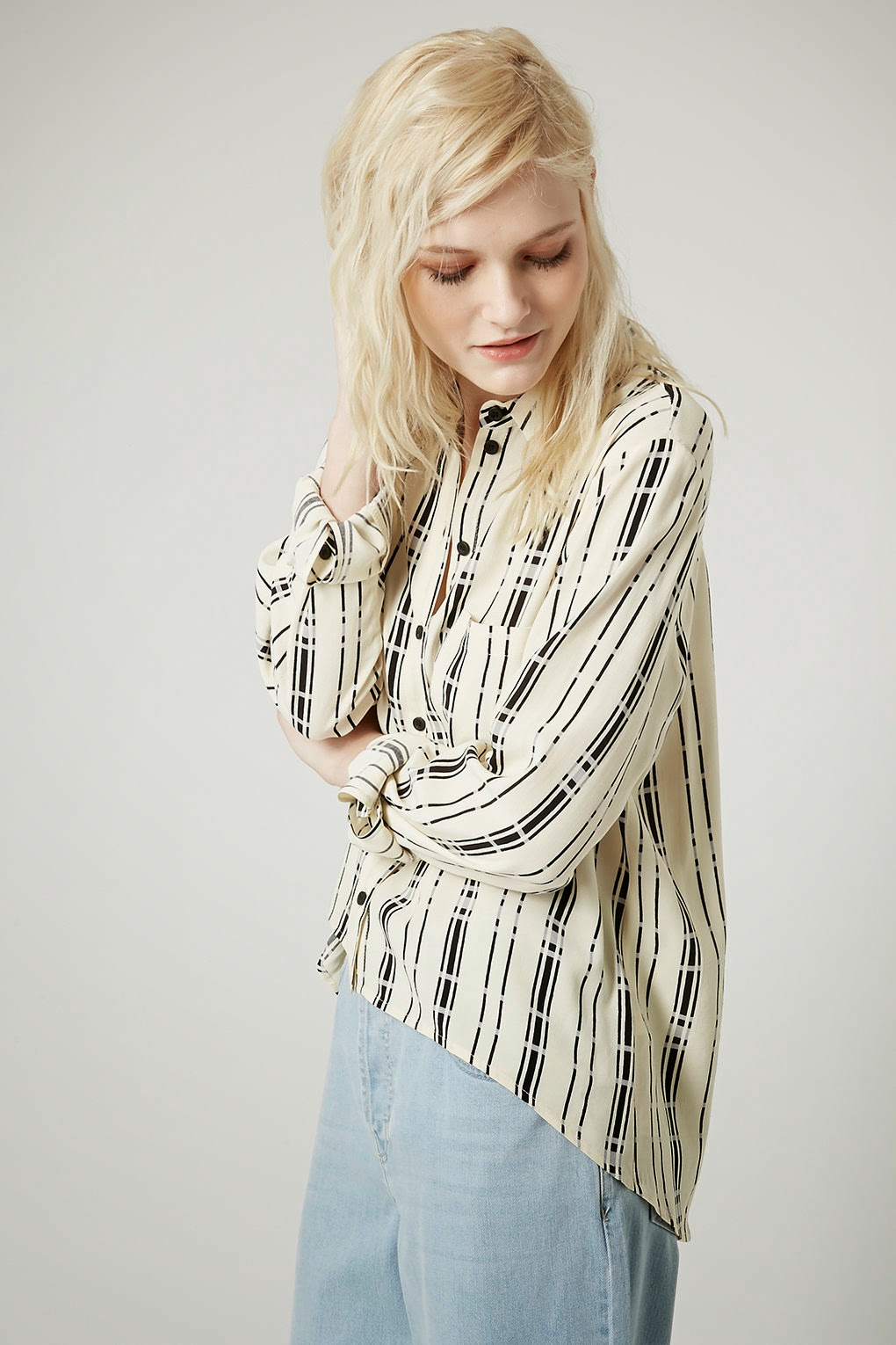 striped cream black shirt