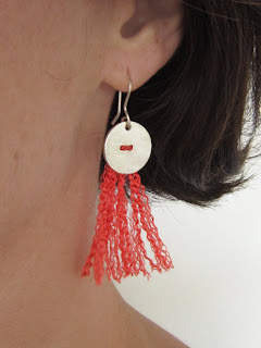 silk, sterling silver, orange, tassel, earring, klei