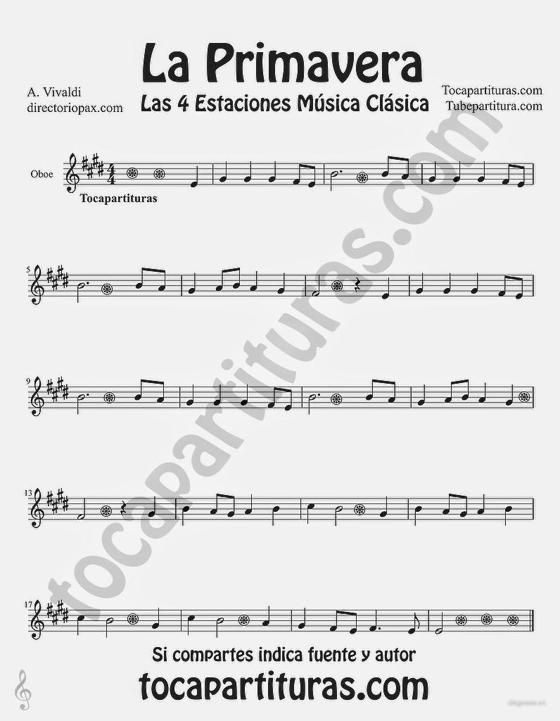"La Primavera de Antonio Vivaldi Partitura para Oboe ""Las Cuatro estaciones de Vivaldi"" Tubepartitura"
